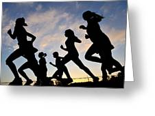 Silhouette Female Runners Greeting Card