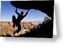 Silhouette Of A Rock Climber Greeting Card