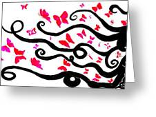 Silhouette Of A Woman With Pink Butterflies Greeting Card