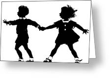 Silhouette Of Children Rollerskating Greeting Card