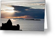 Silhouette Of Dunluce Castle Greeting Card
