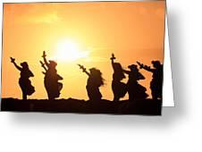Silhouette Of Hula Dancers At Sunrise Greeting Card