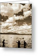 Silhouette Of People Standing In Lake Greeting Card