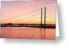 Silhouette Of Rheinturm Tower Greeting Card