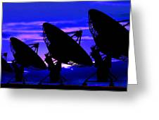 Silhouette Of Satellite Dishes Greeting Card