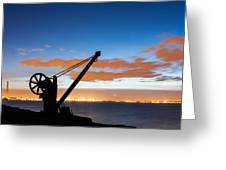 Silhouette Of The Davit In Dublin Port Greeting Card