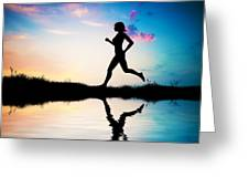 Silhouette Of Woman Running At Sunset Greeting Card