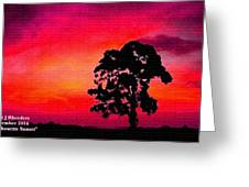 Silhouette Sunset H A Greeting Card