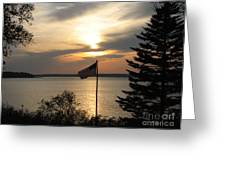 Silhouetted Flag At Sunset Greeting Card