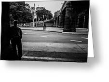 Silhouetted Man Leans Black And White Greeting Card