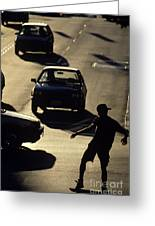 Silhouetted Skateboarder Greeting Card