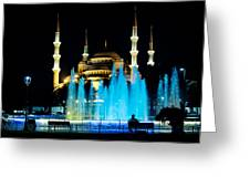 Silhouettes Of Blue Mosque Night View Greeting Card