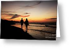 Silhouettes On Varadero Beach Greeting Card