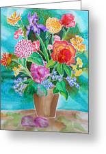 Silk Teal Bouquet Greeting Card by Sandra Fox