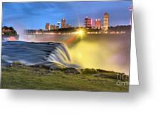 Silky Niagara Falls Panoramic Sunset Greeting Card