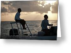 Sillouetted Man Steers Flats Boat Greeting Card