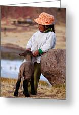 Sillustani Girl With Hat And Lamb Greeting Card by RicardMN Photography