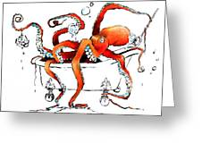 Silly Octopus Taking A Bath Greeting Card