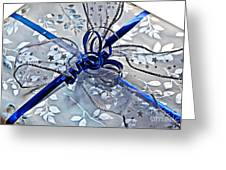 Silver And Blue Wrapped Gift Art Prints Greeting Card