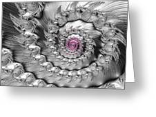 Silver And Pink Spiral Glossy Silber Metal Greeting Card