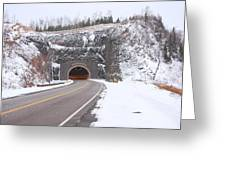 Silver Creek Cliff Tunnel Winter 1 Greeting Card