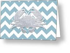 Silver Glitter Crab Silhouette - Chevron Pattern Greeting Card