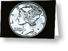Black Silver Mercury Dime Greeting Card