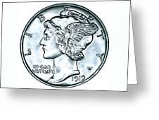 Silver Mercury Dime Greeting Card