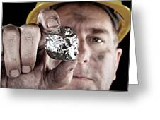 Silver Miner With Nugget Greeting Card