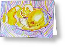 Silver Plate With Lemons Greeting Card by Elena Mahoney