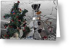Silver Snowman With Christmas Tree Greeting Card