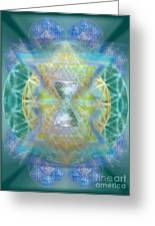 Silver Torquoise Chalicell Ring Flower Of Life Matrix Greeting Card