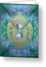 Silver Torquoise Chalicell Ring Flower Of Life Matrix II Greeting Card