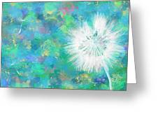 Silverpuff Dandelion Wish Greeting Card