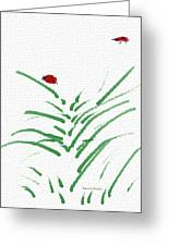 Simply Ladybugs And Grass Greeting Card