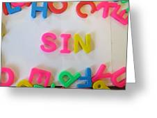 Sin - Magnetic Letters Greeting Card