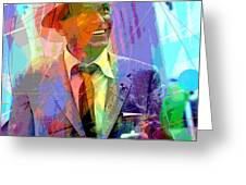 Sinatra Swings Greeting Card by David Lloyd Glover