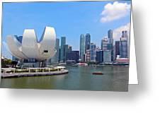 Singapore Artscience Museum And City Skyline Greeting Card