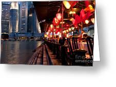 Singapore Boat Quay 03 Greeting Card