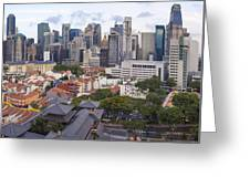 Singapore Central Business District Over Chinatown Area Greeting Card