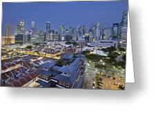 Singapore Central Business District Over Chinatown Blue Hour Greeting Card