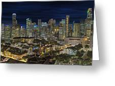 Singapore Central Business District Skyline And Chinatown At Dus Greeting Card