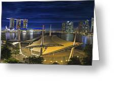 Singapore Central Business District Skyline At Dusk Greeting Card