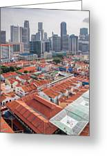 Singapore Chinatown With Modern Skyline Greeting Card