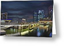 Singapore City By The Fullerton Pavilion At Night Greeting Card