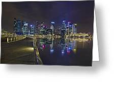Singapore City Skyline Along Marina Bay Boardwalk At Night Greeting Card