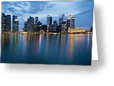 Singapore City Skyline At Blue Hour Greeting Card