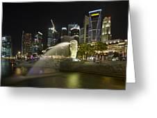 Singapore City Skyline At Merlion Park Greeting Card