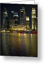 Singapore City Skyline At Night Greeting Card