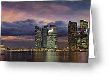 Singapore City Skyline At Sunset Panorama Greeting Card